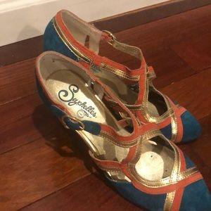 Teal/orange Seychelles heels